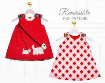 Baby Dress Pattern pdf, Baby Sewing Pattern, Childrens Sewing Pattern pdf, Baby Girls Dress Pattern, Baby Clothing Pattern, SCOTTIE