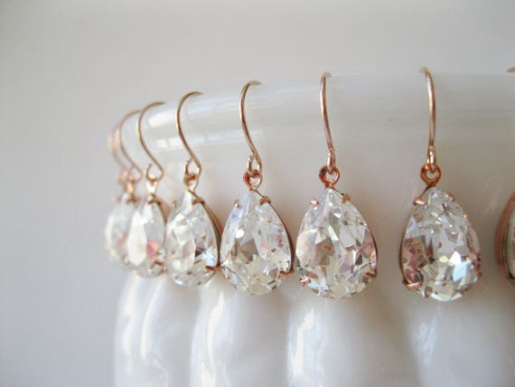 Set of 10 pairs Rose Gold Crystal Bridesmaid Earrings Teardrop Earrings Bridesmaid Sets Vintage Art Deco Wedding Bridal Jewelry Nickel Free