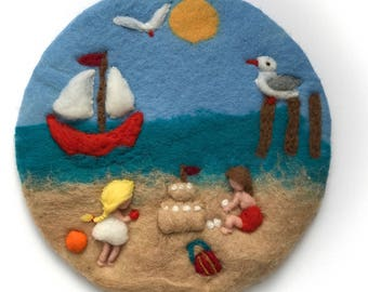 Sommer Wool painting, Picture,tapestry,Wet felted,Needle Felted. Waldorf