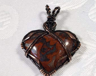 Red Agate Heart Pendant, Antiqued Copper, Wire Wrapped