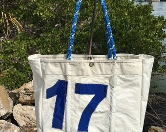 XXLG Sail Number 17 JUMBO handmade recycled sail Bag by SailAgainBags