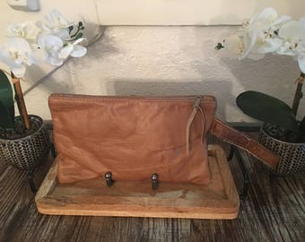 Rustic Leather Clutch with Handle