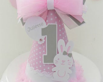 Somebunny is One - Pink Polka Dot Bunny Rabbit Birthday Party Hat - Light Pink and Grey- Personalized