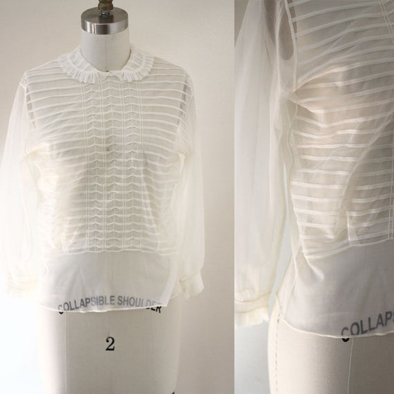 1950s sheer white blouse // 1950s nylon blouse // vintage top
