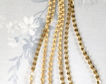 22K Gold Coin Chain, Shiny Gold Coin Chain, Fancy Brass Chain, 4mm, 8Ft