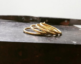 Hammered 4 Band 14K Solid  Gold Stacking Ring Set