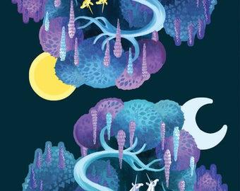 Unicorn Day/Night vinyl stickers