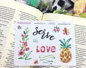 Serve Sampler Stickers, Pineapple, Floral, Bible Stickers, Planner Stickers,