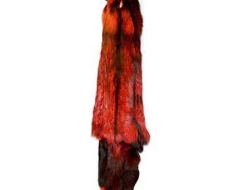 Glacier Wear Super Select Silver Fox Pelt Hide Fur Dyed Ruby Red