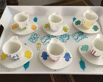Set of six Espresso cups.  hand painted with hamsa design and calligraphy