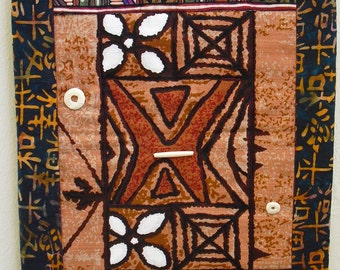 Wall Hanging Fiber Art Quilt ,A unique and original piece of art made from Hawaiian fabric,machine quilted together, adorned with bone beads