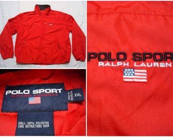 Vintage Retro Men's 90's Polo Sport Ralph Lauren Jacket Red Spell Out Flag Full-zip Oversized Windbreaker XXL