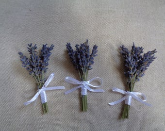 Simple rustic dried lavender boutonnieres set - 6 groom men wedding decor lapel country style party decorative boutonniere