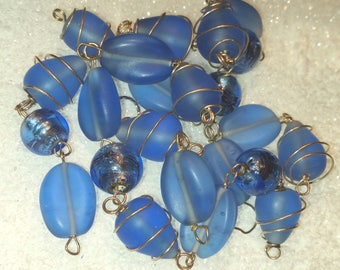 23  Large Frosted Blue Beads most wrapped in Wire. Beautiful.