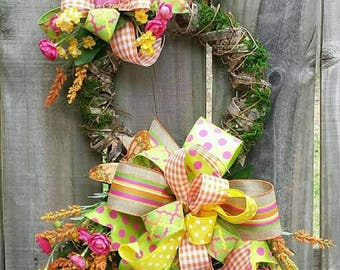 Bunny wreath,  Easter Rattan Moss Bunny, Easter door hanger, Easter Moss bunny,Easter door hanger,  Easter bunny swag, Easter bunny decor