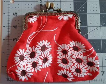 Kiss Lock Wallet Snap Frame Purse Coin Pouch Change Clutch Floral Fabric