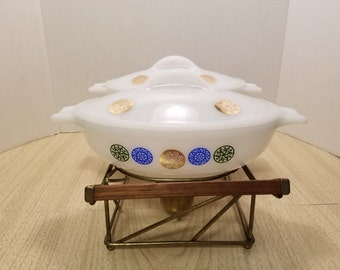 Vintage Mid Century Modern GLASBAKE 2 Oval 1 qt Casseroles with doulbe warming stand REDUCED from 43.00