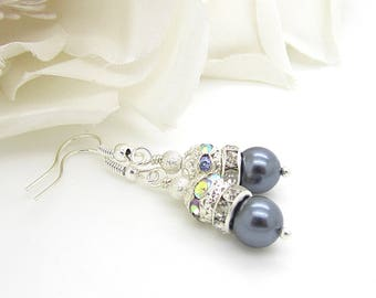 Pewter Pearl Bridal Earrings, Mercury Bridesmaid Jewellery, Dark Silver Pearl Drops, Crystal Dangles, Pewter Wedding, Bridesmaid Gifts