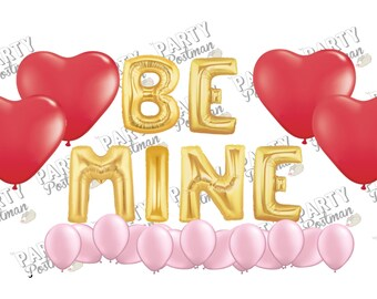 Be Mine Balloon Cluster Party Pack - Red, Gold and Pink