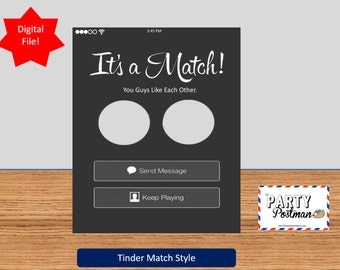 Custom it's a Match Tinder Frame Photo Booth Prop Funny Prop (Digital File Only)