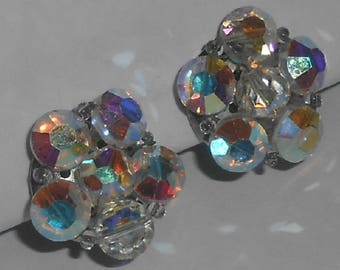 Vintage Silver Tone Aurora Borealis (AB) Faceted Crystal Button Style Round Bead Cluster Clip On Earrings