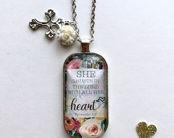 She Trusts In The Lord With All Her Heart Proverbd 3:5 (Scripture Pendant Necklace)