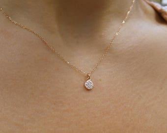 Diamond Disc Necklace/ Diamond Necklace 14k Rose Gold/ 14k Solid Rose Gold Diamond Necklace/ Delicate Necklace/ Layering Necklace/ Dainty