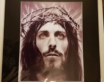16x20 Inch Matted Print of Original Charcoal Drawing of Jesus Christ