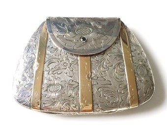 Engraved Sterling Silver With 18K Gold Purse Compact