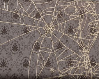 SALE One Yard Witch Web Gray - Witch Hazel by Riley Blake, Halloween Fabric, Victorian Wallpaper Spider Webs, Haunted House, Spooky Cute