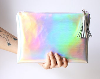 Rainbown Crossbody / Crossbody bag, clutch bag, Mermaid handbag, Holographic bag, iridescent bag, faux leather, Customizable