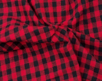 """Cotton Flannel Fabric Red Black 1/2"""" Checkers by the Yard 1/17 (blanket scarf)"""