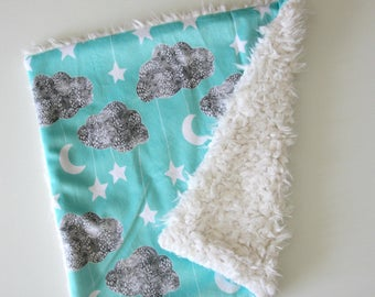 Dream Lovie, Aqua Cloud Moon and Stars Minky with Ivory Faux Fur