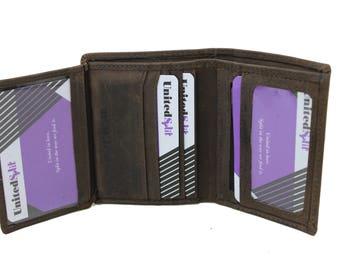 Mens Medium Slim Trifold  Genuine Leather Wallet Coins Hunter Dark Brown  9706