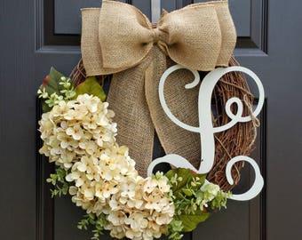 Wreath for Door,Grapevine wreath,Burlap wreath,Hydrangea wreath,Summer wreath,Year Round wreath,Spring wreath,Front Door wreath,Door decor