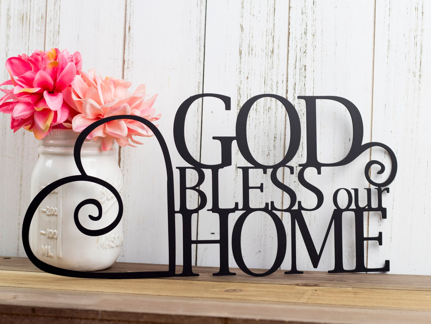 God bless our home metal sign heart religious decor god for Our home decor