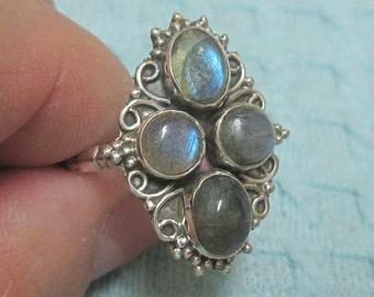 Multi-Labradorite Sterling Silver Ring Size 6 1/2