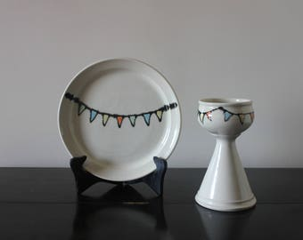 Watercolor Bunting Single Chalice and Paten Set