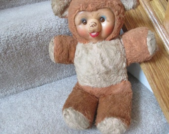 rare 1950s musical bear stuffed plush rubber face plays rock-a -bye-baby works