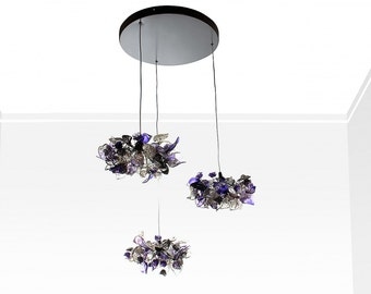 Triple Pendant Chandelier ceiling lighting -purple gray and clear color flowers and leaves round shape for Kitchen Island, Dinning Room.