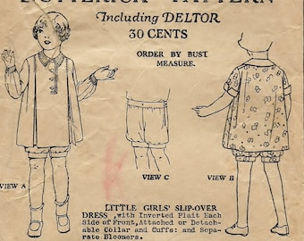 "A 1920's Slip-Over, Inverted Plait Dress w/Detachable Collar & Cuffs and Bloomers* Pattern for Children Age 3 Breast 22"" • Butterick 6997"