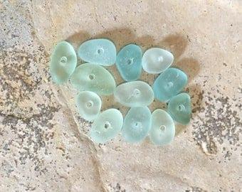 Real Sea Glass Beads, 5mm to 8mm, Aqua, Green, Seafoam, Tinies, Drilled, Beach Glass, Jewelry Making