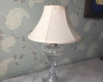 Antique Crystal Pressed Glass Lamp -  1930's 1940's Glass Lamp with Globe