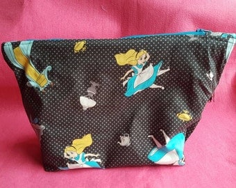 Large Alice in Wonderland make up toiletries bag