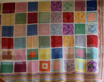 Vintage Colorful Bright Cotton Crocheted Granny Square Large Blanket / Afghan