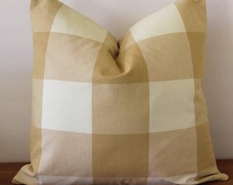 Buffalo Check Pillow Cover Khaki Tan and Off-White- Pillow Cover