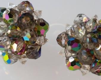 Laguna Signed Clip On Earrings Multi Color Crystal