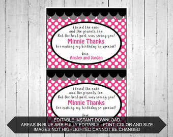 Oh Twodles Minnie Mouse Thank you cards Inspired Personalized Printable Editable Girls Birthday Party- Pink