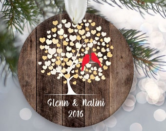 Lovebirds Ornament, Personalized Christmas Ornament, Rustic faux /fake Wood Wedding Tree Ornament, Names & date, Bridal shower Gift OR550