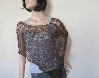 Brown knitted poncho, for you, for woman.